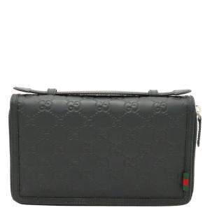 Gucci Black Signature Rubberized leather Travel Document Case