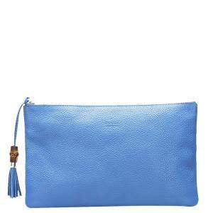 Gucci Blue Leather Bamboo Braided Tassel Zip Clutch Bag