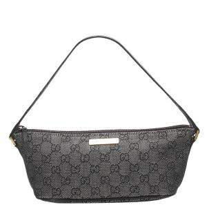 Gucci Black GG Canvas Boat Bag