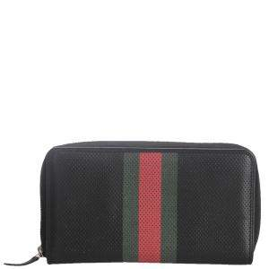 Gucci Black Perforated Leather Web Zip Wallet