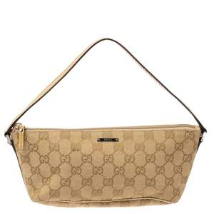 Gucci Beige GG Canvas and Leather Boat Pochette Bag
