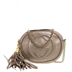 Gucci Metallic Gold Leather Mini Soho Disco Chain Crossbody Bag