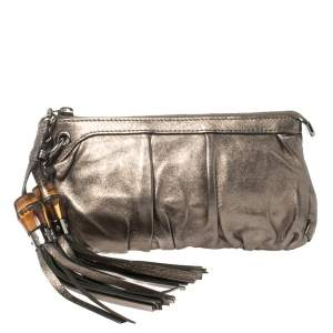 Gucci Gunmetal Leather Bamboo Tassel Clutch
