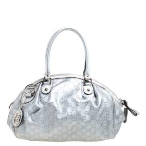 Gucci Metallic Silver Guccissima Leather Medium Sukey Boston Bag