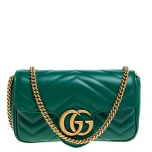 Gucci Green Matelasse Leather Mini GG Marmont Super Bag