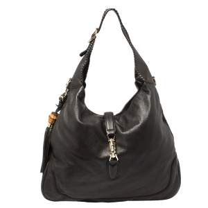 Gucci Brown Leather New Jackie Bamboo Hobo Bag
