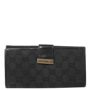 Gucci Black GG Canvas and Leather Trim Continental Wallet