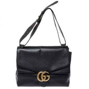 حقيبة كتف غوتشي مارمونت جي جي كبيرة جلد أسود