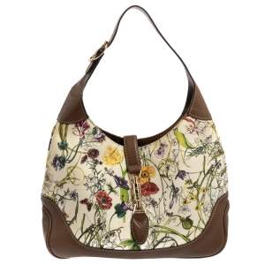 Gucci White Flora Canvas and Leather Medium Jackie O Hobo