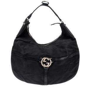 Gucci Black Canvas and Perforated Leather Reins Hobo
