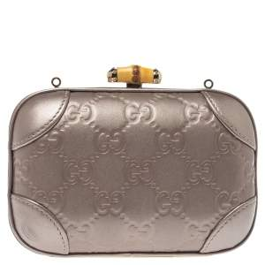 Gucci Metallic Purple Guccissima Leather Broadway Bamboo Lock Clutch