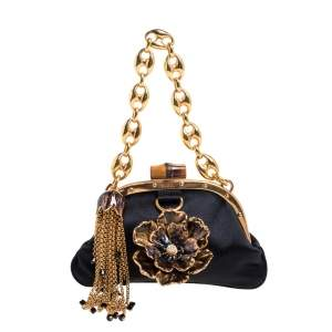 Gucci Black Satin Flower Embellished Bamboo Lock Mini Clutch