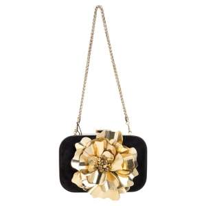 Gucci Black Suede Golden Flower Embellished Broadway Clutch