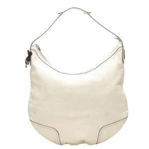 Gucci White Leather Princy Hobo Bag