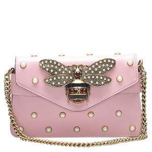 Gucci Pink Calfskin Leather Pearl Studded Broadway Bee Mini Bag