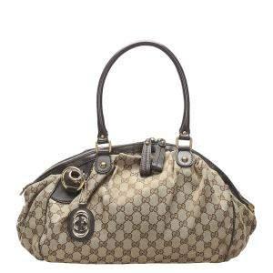 Gucci Brown/Beige GG Canvas Sukey Satchel Bag