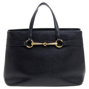 Gucci Black Leather Medium Bright Bit Tote