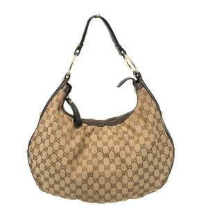 Gucci Beige/Brown GG Canvas and Leather Medium Interlocking G Hobo