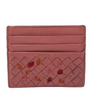 Bottega Veneta Pink Leather Card Holder