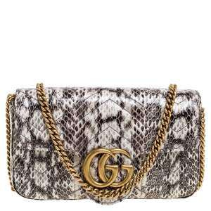Gucci Multicolor Matelasse Python Mini GG Marmont Shoulder Bag