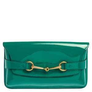 Gucci Green Patent Leather Horsebit Clutch