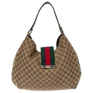 Gucci Beige/Ebony GG Canvas and Leather Medium New Ladies Web Hobo