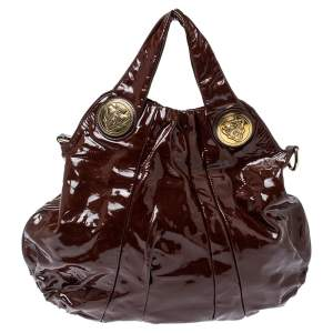 Gucci Brown Patent Leather Large Hysteria Hobo