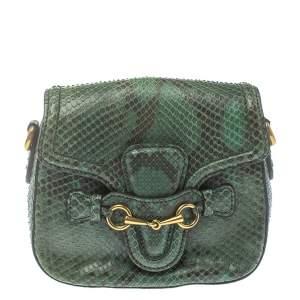 Gucci Green Snakeskin Lady Web Shoulder Bag