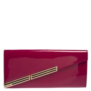 Gucci Magenta Patent Leather Sigrid Oversized Clutch