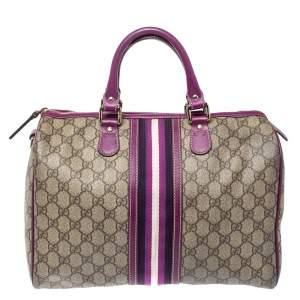 Gucci Purple/ Beige GG Supreme Canvas Medium Limited Edition Joy Boston Bag
