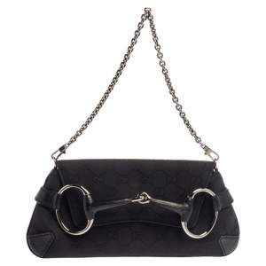 Gucci Black GG Canvas Horsebit Chain Clutch