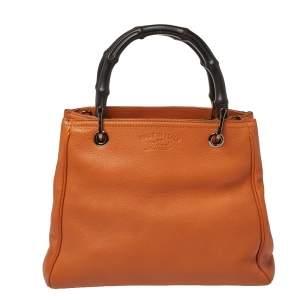 Gucci Orange Leather Small Bamboo Shopper Tote
