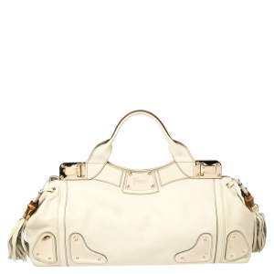 Gucci Cream Leather Bamboo Tassel Indy Satchel