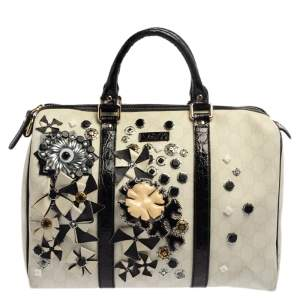Gucci White GG Coated Canvas Floral Applique Joy Boston Bag