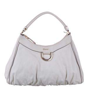 Gucci White Guccissima Leather D Ring Hobo Bag