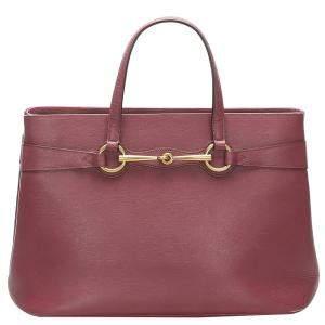 Gucci Red Leather Bright Bit Tote Bag