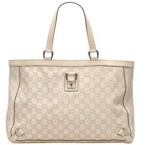 Gucci White Guccissima Leather Abbey D-Ring Tote Bag