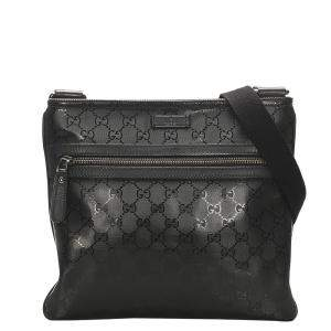 Gucci Black GG Imprime Leather Crossbody Bag