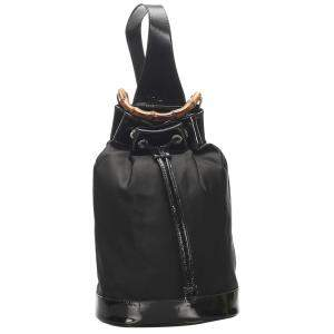 Gucci Black Bamboo Nylon Backpack
