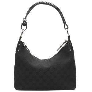 Gucci Black GG Canvas Hobo Bag