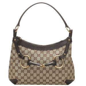 Gucci Brown/Beige GG Canvas Horsebit Hobo Bag