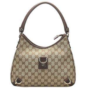 Gucci Brown/Beige GG Canvas Abbey D-Ring Bag