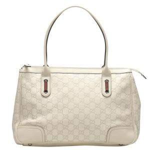 Gucci White Guccissima Leather Princy Tote Bag
