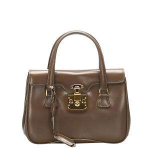 Gucci Brown Leather Lady Lock Top Handle Bag
