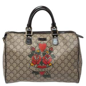 Gucci Beige/Brown Heart Tattoo GG Supreme Canvas and Leather Medium Joy Boston Bag