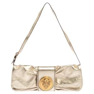 Gucci Metallic Gold Leather Hysteria Clutch Bag