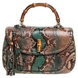 Gucci Multicolor Python New Bamboo Top Handle Bag
