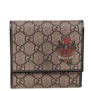 Gucci Beige GG Supreme Canvas and Patent Leather Tattoo Heart Trifold Wallet