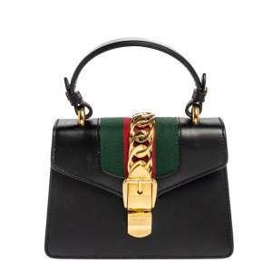 Gucci Black Leather Mini Web Sylvie Top Handle Bag
