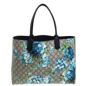 Gucci Blue GG Supreme Canvas Blooms Reversible Tote